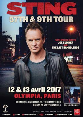 Sting en concerts à l'Olympia de Paris en avril 2017