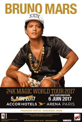 Bruno Mars en concerts à Paris en 2017