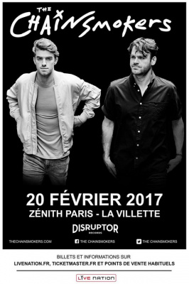 The Chainsmokers en concert au Zénith de Paris en février 2017