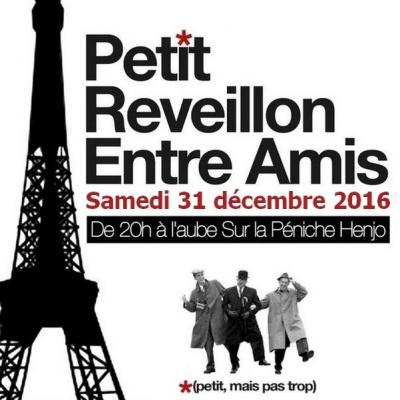 Réveillon 2017 à Paris : Petit Réveillon entre amis à la Péniche Henjo