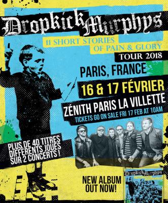 Dropkick Murphys en concerts au Zénith de Paris en 2018
