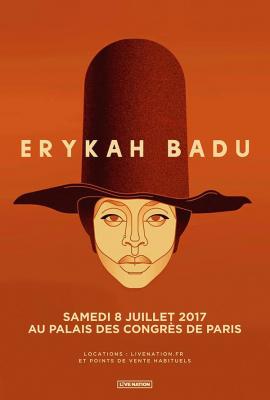 Erykah Badu en concert au Palais des Congrès de Paris en juillet 2017