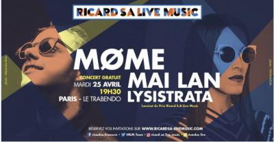 Tournée Ricard S.A Live Music 2017 : concert au Trabendo de Paris le 25 avril