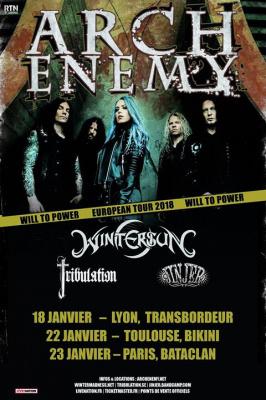 Arch Enemy en concert au Bataclan de Paris en janvier 2018