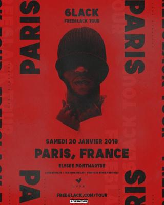 6LACK en concert à L'Elysée Montmartre de Paris en janvier 2018