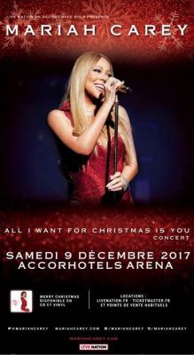 Mariah Carey en concert à l'AccorHotels Arena Bercy de Paris en décembre 2017