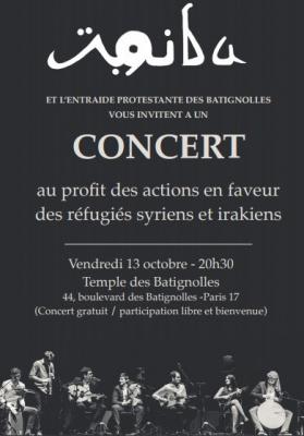 Concert pour les réfugiés syriens et irakiens au Temple des Batignolles