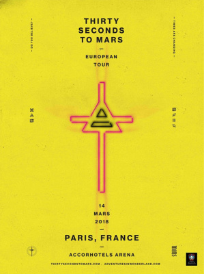 Thirty Seconds To Mars en concert à l'AccorHotels Arena Bercy de Paris en otobre 2018