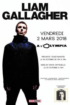 Liam Gallagher en concert à l'Olympia de Paris en mars 2018