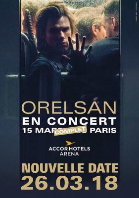 Orelsan en concert à l'AccorHotels Arena Bercy de Paris en mars 2018