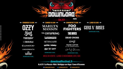 Download Festival Paris 2018 : Guns N' Roses, Ghost, The Offspring, The Hives... à l'affiche