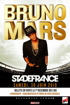 Bruno Mars en concert au Stade de France en juin 2018