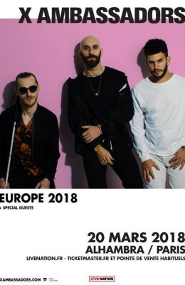 X Ambassadors en concert à l'Alhambra de Paris en mars 2018