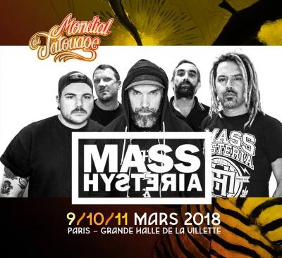 Mondial du Tatouage 2018 : Mass Hysteria en concert à La Grande Halle de La Villette