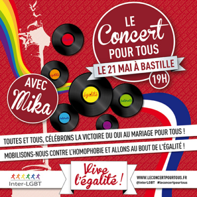 Le Concert pour tous : concert gratuit à Paris Bastille pour célébrer le Mariage pour Tous