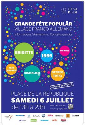 Grande Fête Populär Place de la République le 6 juillet 2013 avec Brigitte et 1995
