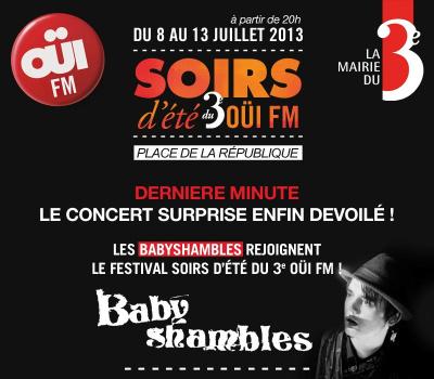 Festival Soirs d'été 2013 : Les Babyshambles en concert gratuit Place de la République