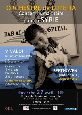 Vivaldi et Beethoven: Concert pour la Syrie avec l'Orchestre de Lutetia