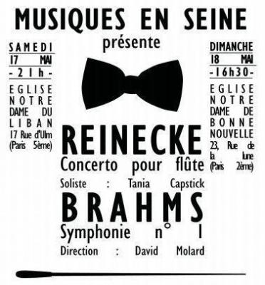 Concert Symhonie n1 de Brahms et Concerto pour flûte de Reinecke