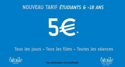 Nouveaux tarif Etudiants et -18 ans aux cinémas Étoile Saint-Germain et Étoile Pagode