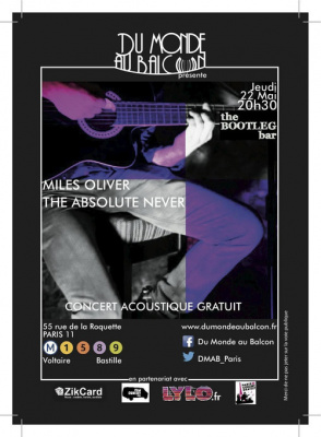 Concert gratuit de Miles Oliver et The Absolute Never à Paris