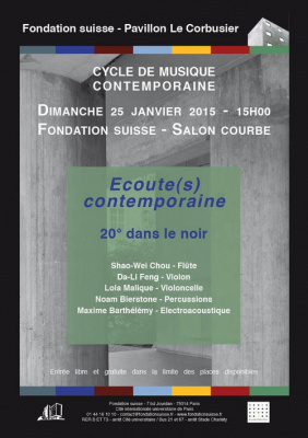 Cycle de musique contemporaine – Ensemble 20° dans le noir