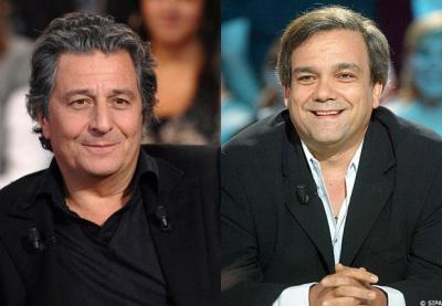 Christian Clavier et Didier Bourdon dans La Cage aux Folles mise en scène par Pierre Mondy