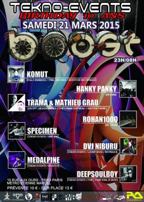 TEKNO-EVENTS BIRTHDAY 10 ANS : KOMUT / HANKY PANKY / TRAMA & MATHIEU GRAU / ROHAN1000 and TEKNOMES T