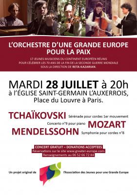 Concert de l'Orchestre d'une Grande Europe pour la Paix à l'église Saint Germain l'Auxerrois