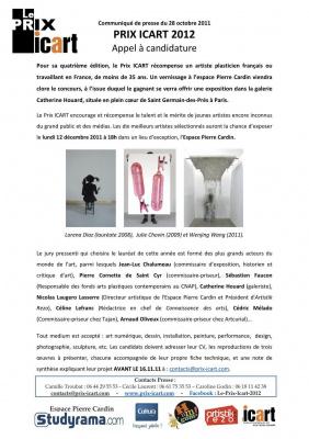 Vernissage PRIX ICART 2012, concours pour jeunes artistes.