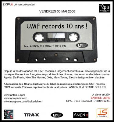 Soirée, Paris, OPA, UMF Records, Anniversaire