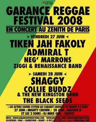 Concert, Paris, Garance Reggae Festival, Zénith, Shaggy, Tiken Jah Fakoly