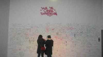 Exposition Dégagement, Institut du Mond Arabe, Mur de Libre Expression