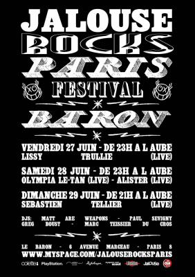Jalouse, Rocks, Festival, Eté, Paris, Baron, Concerts, Soirées.