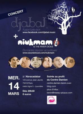 Concert djabal + Niukmam & the River Dicks au profit du Centre Damien - Bénin