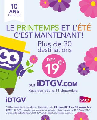 iDTGV lance l'ouverture de ses ventes Printemps / Été