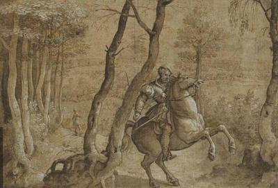 Barend Van Orley, cavalier sur un cheval qui se cabre, dans une région boisée