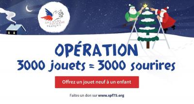 """OPÉRATION """"3000 JOUETS POUR 3000 SOURIRES"""" : COLLECTE DE JOUETS NEUFS POUR LES ENFANTS DU SECOURS POPULAIRE DE PARIS"""