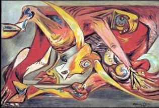Man, Bull, Bird c 1938-41 Huile sur toile 60,9 x 91,4 cm Collection privée