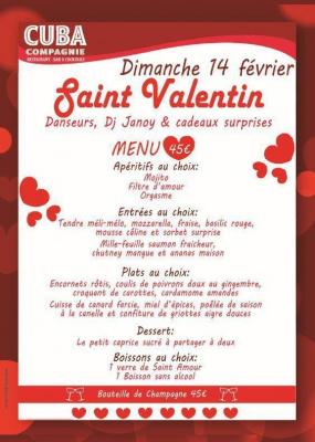Soirée St-Valentin Dimanche 14 février au Cuba Compagnie restaurant Paris Bastille