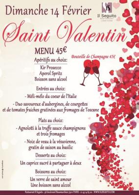 Soirée St-Valentin Dimanche 14 février à Il Seguito restaurant Paris Bastille