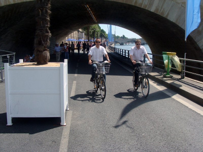 Vélib' à Paris plage, sur les bords de Seine