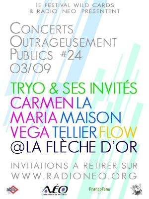 Soirée, Paris, Flèche d'Or, Tryo, La Maison Tellier, Flow, Carmen Maria Vega