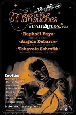 Concerts, Paris, Alhambra, Jazz Manouche, Nuits manouches, Raphaël Fays, Angelo Debarre, Tchavolo Schmitt