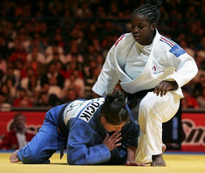 Gevrise Emane (R) of France vies with Katarzyna Pilocik (L) of Poland in the women's 70 kg final final of the Euro Judo Championship in Belgrade, 07 April 2007. Emane won the final.      AFP PHOTO / DIMITAR DILKOFF (Photo credit should read DIMITAR DILKOFF/AFP/Getty Images)