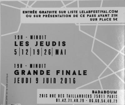 LE LAB FESTIVAL / 3eme ÉDITION @BADABOUM