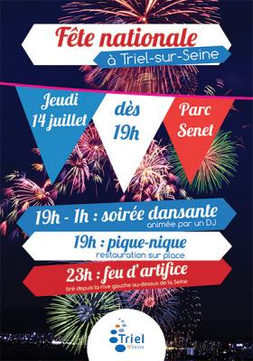 Feu d'artifice du 14 juillet 2016 à Triel-sur-Seine