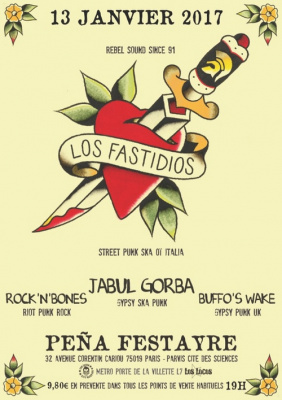 Rebel Music Party : Los Fastidios, Jabul Gorba, Rock'N'Bones et Buffo's Wake