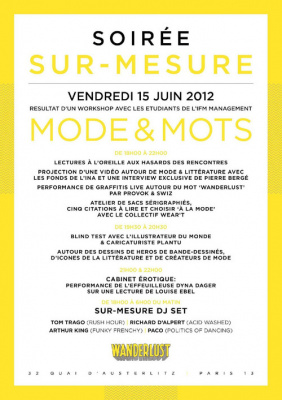 SUR MESURE Workshops : MODE & MOTS @ WANDERLUST