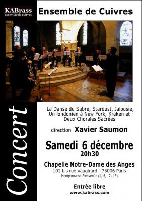 Concert, Paris, Cuivres, KABrass, Xavier-Romaric Saumon, Chapelle Notre-Dame des Anges